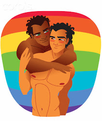 Mixed Race Gay Couple --- Image by © Illustration Works/Corbis